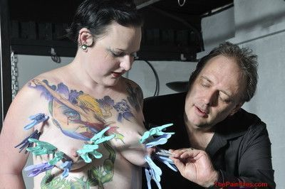 Needle bdsm and extreme bbw piercing fetish of tattooed amateur slave