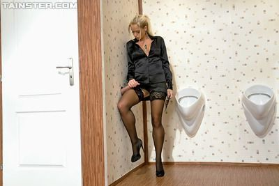 Seductive MILF in stockings Stacy Silver gets fucked through glory hole