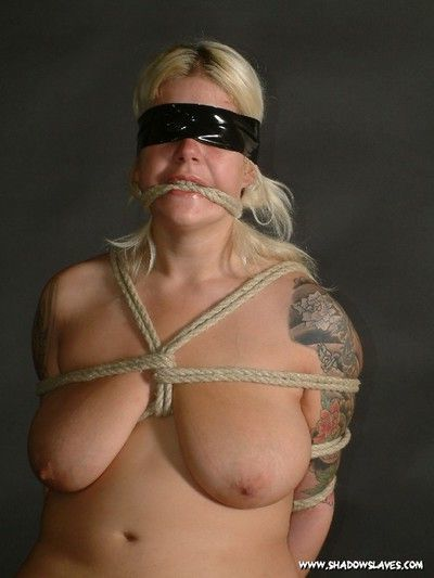 Bound amateur blonde has clothes pins attached to her big boobs