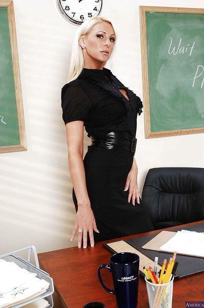 Blonde teacher Emilianna is a very sexy big ass MILF