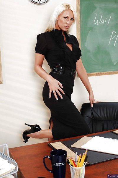 Blonde teacher Emilianna is a very sexy big ass MILF