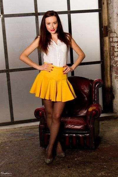 Sophia in yellow skirt and black pantyhose