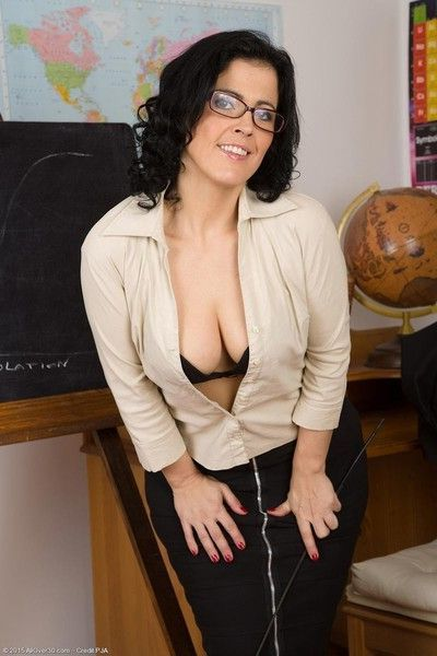 Hot teacher shows big booty in stockings