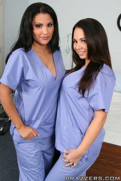 Lesbo Latina MILFs Sophia Lomeli and Holly West strip off uniform