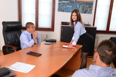 Evelina darling gets double penetrated by her two managers in th