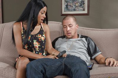Threesome action features Ebony cuties Anya Ivy and Codi Bryant