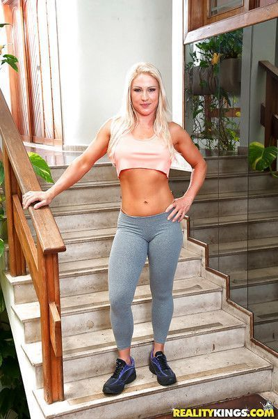 Latina babe Lorena Fire oiling big booty after yoga pants removal