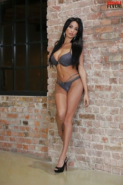 European babe Anissa Kate posing in sexy underwear and high heels