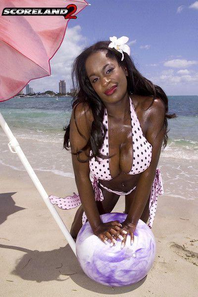 Ebony big tits milf nikki jaye posing on beach