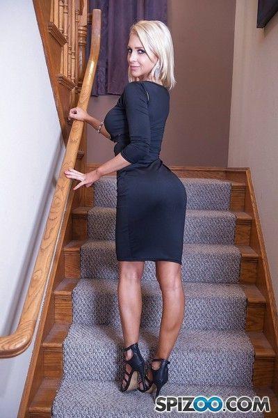 Hot blonde pornstar Alix Lynx giving large cock POV blowjob on knees
