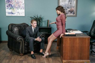 Boss lady Cassidy Banks revealing large saggy tits during office fucking