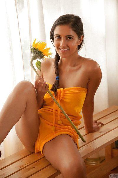 Brunette teen amateur Vijaya Singh having fun and exposing herself