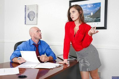 Amazing office brunette Dani wants to taste that large dick