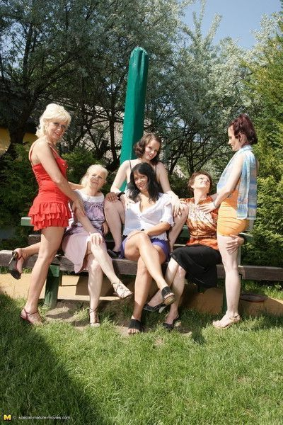Six old and young lesbians make out in the sun