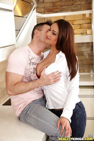 Top heavy chick Sandra Milka taking cumshot on big natural breasts