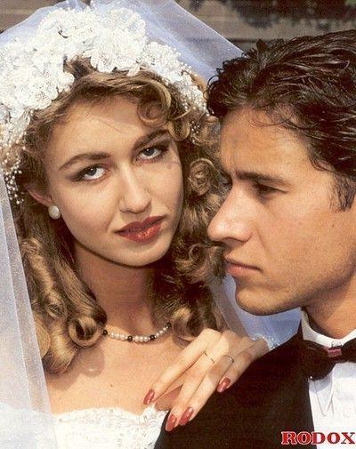 Wife double fucked at wedding in retro porn pics