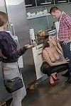 Busty MILF and teen cutie interrupt kitchen cooking for threesome