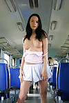 Dark haired teen Gwen gets into public flashing on subway car