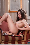Erotic model Dakota A undressing sexy lingerie to bare nice tits & bald twat